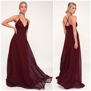 Lulu's MADALYN BURGUNDY LACE MAXI DRESS